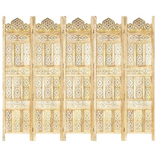 vidaXL Mangoholz Massiv Raumteiler 5-TLG. Handgeschnitzt Klappbar Trennwand Paravent Spanische Wand Umkleide Sichtschutz 200x165cm