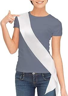 Blank Satin Sash, Plain Sash, Party Decorations, Make Your Own Sash (White)