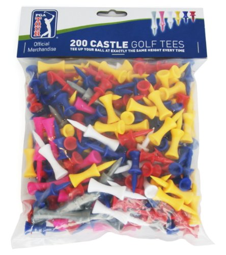 PGA Tour 200 Castle Golf Tees - Red/Yellow/Blue/Pink/Gray (200 Count)