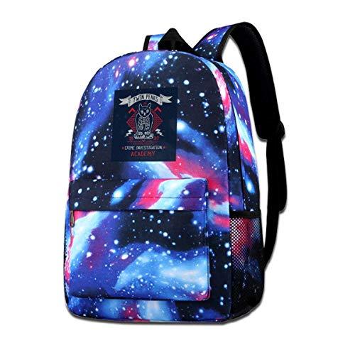 Warm-Breeze Galaxy Printed Shoulders Bag Twin Peaks Crime Academy Mode Lässiger Star Sky Rucksack für Jungen und Mädchen