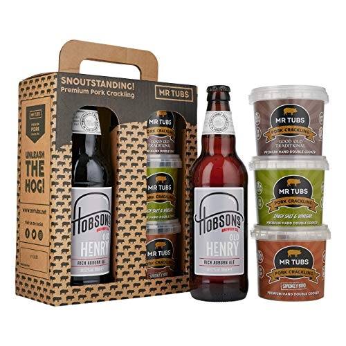 Mr Tubs Premium Double Hand Cooked Pork Crackling - with Hobsons Old Henry Real Ale Beer - 1 x 500ml Bottle Gift Set with Carry Case
