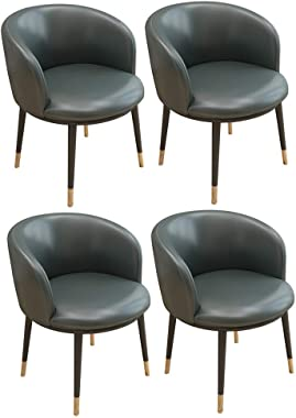 Dining Chairs Set of 4 Vintage Kitchen Counter Armchair Lounge Leisure Living Room Corner Chairs with Metal Legs Leather Seat