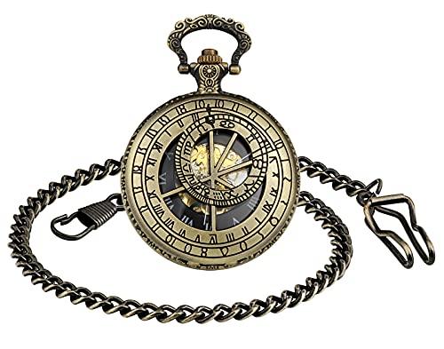 SUPBRO Orologio da taschino da uomo e da donna, analogico, meccanico, con catena Meridian, bronzo,