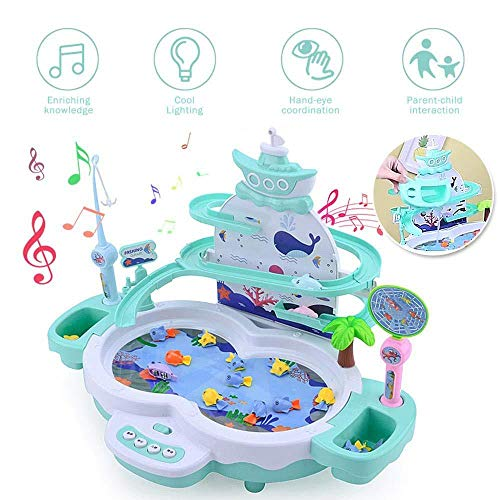 OOPP Fishing Kiddie Pool Party with Music and Light, Magnetic Fun Fishing Game Toy Set, Magnetic Levitation Track and Fishing Equipment, Safe and Durable Gift for Kids,Dolphin Blue