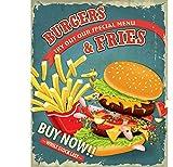 EpochSign Blechschild Burgers & Pommes, großes Poster im