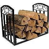 Fireplace Tool Sets 48cm Brennholzhalter mit Schriftrollen, Kamin Holzlagerständer für Drinnen Draußen Winter, Hochleistungseisen Schwarzes Finish
