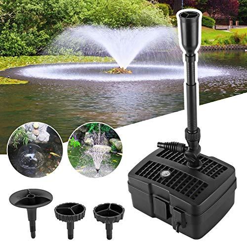 YAOBLUESEA 4 in 1 Teichpumpe Springbrunnenpumpe mit Filter UV-Klärer,Wasserspielpumpe Bachlaufpumpe,Stromkabel für Garten- und Springbrunnengestaltung(24W)