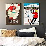 NOBRAND Andorra Europa Viajes Pinturas en Lienzo Cuadros Vintage Carteles Kraft Revestidos Pegatinas de Pared Decoración del hogar Regalo No Fra-a_30x40cmX2
