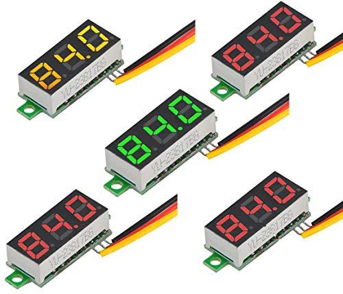 RUNCCI-YUN 5 Piezas Mini Digital voltímetro, Mini Digital LED Voltímetro, LED...