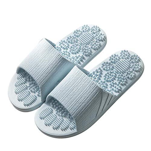 Veluckin Unisex Erwachsene Fußmassage-Hausschuhe,Blau,40/41EU