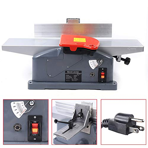 6 Inch Benchtop Jointer Table Top Jointers Woodworking Power Failure Protection High Power All-copper Motor Planer Jointer Combo Woodworking Portability Jointer Planer for Wood Cutting 9000/min 110V