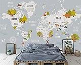 Papel pintado dormitorio vintage infantil 3D Mapa del mundo de dibujos animados sala de niños fondo de la pared decoración del hogar fondo mural de la pared fondo de pantalla