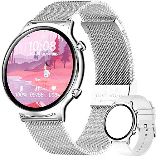 smartwatch Damen,Fitness Watch Uhr Voller Touch Screen Fitness Uhr IP68 Wasserdicht Fitness Tracker Sportuhr mit Schrittzähler Pulsuhren Stoppuhr für Damen Herren Smart Watch für iOS Android Handy