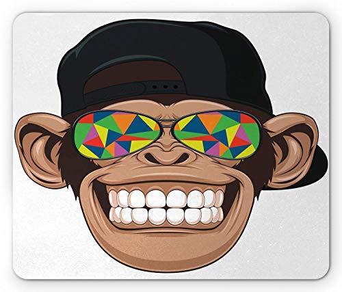 Yzbedset Cartoon-Mauspad, Fun Hipster-Affe mit bunter Sonnenbrille und Hut Rapper Hippie-Affen-Kunst, Rechteck rutschfestes Gummi-Mauspad, Standardgröße, Weißbraun