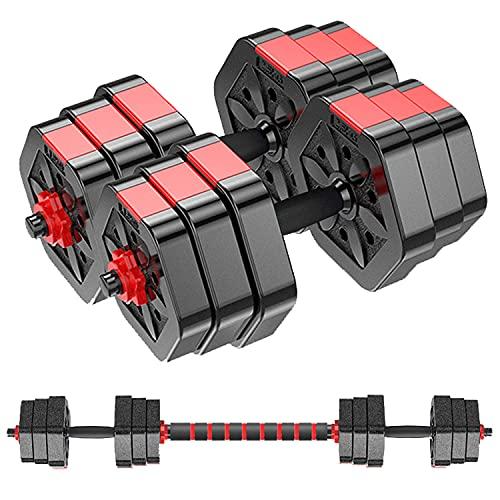 MOJEER ダンベル 可変式 3in1】10kg 20kg 30kg 40kg 2個セット バーベルにもなる ダンベル 無臭素材 静音 HB008 (10kg×2個セット/redCP)