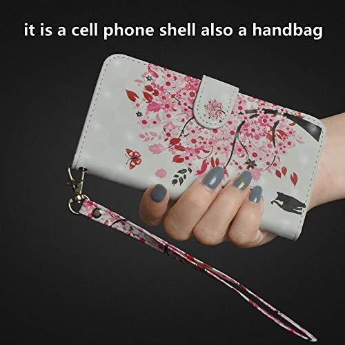 Sunrive Hülle Für Huawei Y5 (Y560), Magnetisch Schaltfläche Ledertasche Schutzhülle Etui Leder Case Cover Handyhülle Tasche Schalen Lederhülle(Baum Katze) - 2