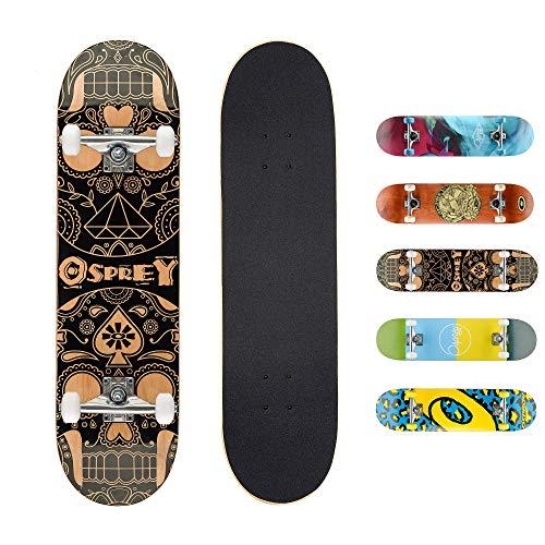Skateboard completo per tricks double kick Osprey, principianti deck acero 31' x 8'