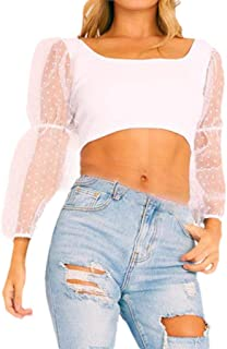 GUOCAI Women's Sexy Polka Dot See-Through Long Sleeve Mesh Chiffon Shirt