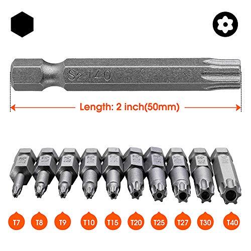 10PCS Torx Head Screwdriver Bit Set, VAKOGAL S2 Steel Magnetic Security Tamper Proof Star 6 Point Screw Driver Kit Tools, 1/4 Inch, Hex Shank T7-T40