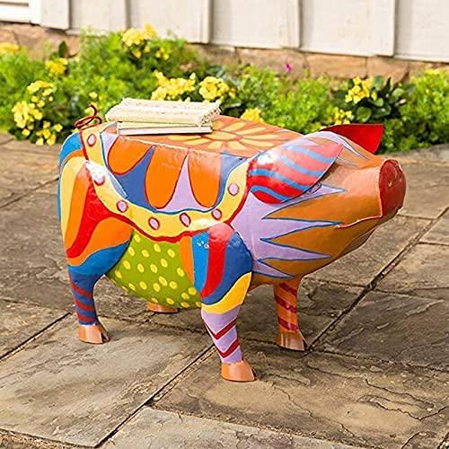 Bunte Schweine-Beistelltisch-Statuen,Schweine-Form,Kunstharz-Skulpturen,Kunsthandwerk,Schwein Tierharz Statuen Tabelle, Ornamente für Innen- und Außenbereich,Garten,Hof, Landschaftsdekoration (A)