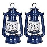 19 cm ヴィンテージ灯油ランタンランプ ウィックオイルランプ家の装飾やアウトドアキャンプ用の灯油ディーゼルを燃料とする野生の非常灯, Pack of 2 Pieces (navy blue navy blue)