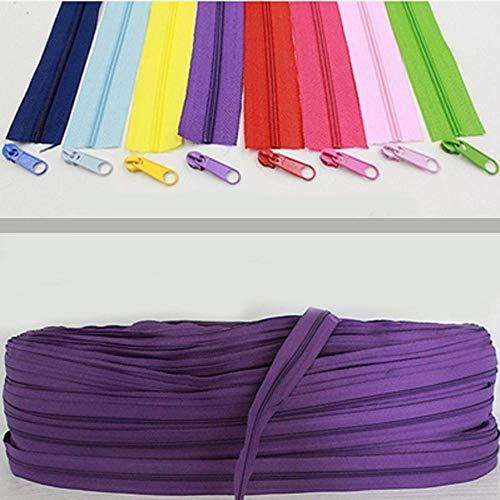 Cremalleras de bobina de nailon 3# de 10 metros de largo para accesorios de costura de bricolaje 22 colores para la selección 2-021-1 rojo vino, 3#