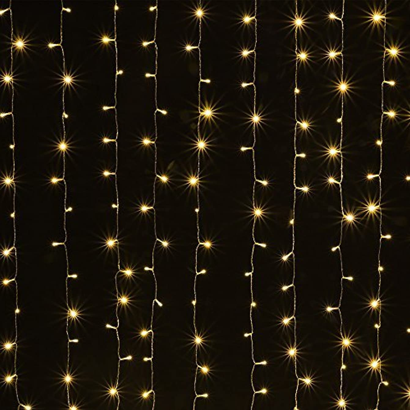 AGPTEK Solar Powered Curtain Icicle Lights, 3M X 3M 8 Modes Fairy String Lights for Christmas Wedding Home Garden Outdoor Window (300 LED) - Warm White