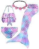 iLyberkiok Cola de Sirena 4 Piezas Trajes de Baño para Niñas Bikini de Natación Traje de Baño Regalo de Cumpleaños de Niña 3-12 años (sin monoaleta) (5-6 años,DH101+P)