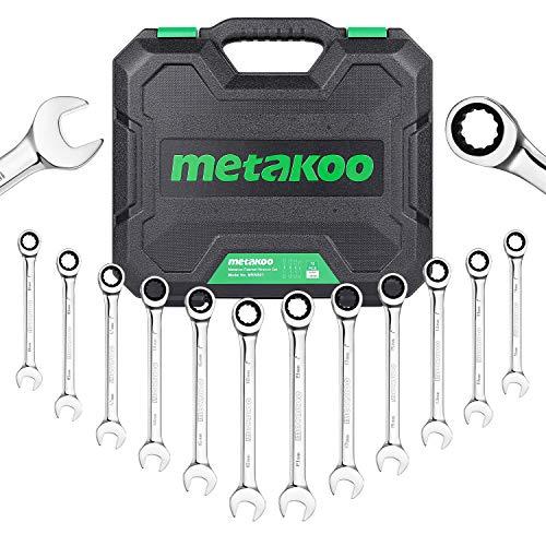 Juego de llaves de trinquete METAKOO, juego de llaves de carraca métricas combinadas con funda, 8-19 mm, 12 piezas, trinquete de 72 dientes, acero cromo vanadio – MRWS01