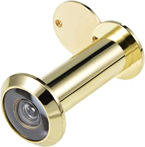 uxcell Door Viewer, Solid Brass 200-degree Door Viewer Peephole with Cover for 2-1/4 to 3-1/2 Inch Thick Door, Polished Gold Finish