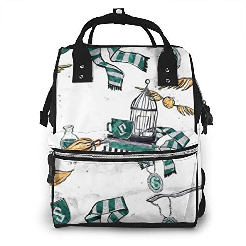 Large Capacity Diaper Bag Backpack, Waterproof Maternity Nursing Rucksack Baby Bag with Stroller Straps, Harry Magic Broom Witch Green Potter Coffee Art Trendy Travel Bag Tote