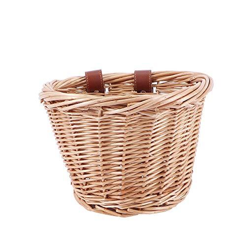 HZL Fahrradkorb für Kinder, Korb vorne aus Rattan, für Fahrrad mit Lenker, Korb vorne aus geflochtenem Rattan, von Hand gewebt