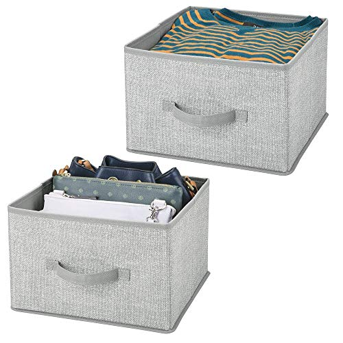mDesign Juego de 2 organizadores para armarios de tela – Cajas de tela para ordenar armarios – Cajas organizadoras para ropa, mantas y otros accesorios – gris