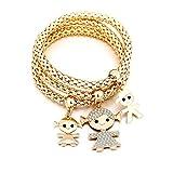 Braccialetto di fascino per donne, collana di ciondolo per bimbi Braccialetto di amicizia per bracciale con cristallo (3 pezzi/set) (Placcato oro)