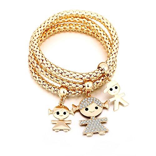 Braccialetto di fascino per donne, collana di ciondolo per bimbi Braccialetto di amicizia per bracciale con cristallo (3 pezzi set) (Placcato oro)