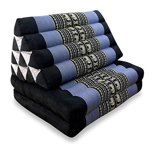 livasia 2 Fold Thai Mat with XXL Jumbo Triangle Cushion/Headrest & 100% Kapok Filling (blue/Elephant)