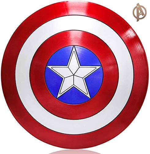MMCC Anillos de Toallas Capitán América Traje de plástico Escudo Adulto One Tamaño América Props de los Hombres Cosplay Shield Marvel Avengers Props con Soporte de Madera (1: 1)