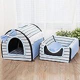 Unlxn Letto per Gatto House Kennel Nest Nido per Animali Domestici Lettiera A Forma di Yurta Dog Kennel Sofa House Cuscino Gatto Pet 33 * 35 * 47Cm Strisce Blu