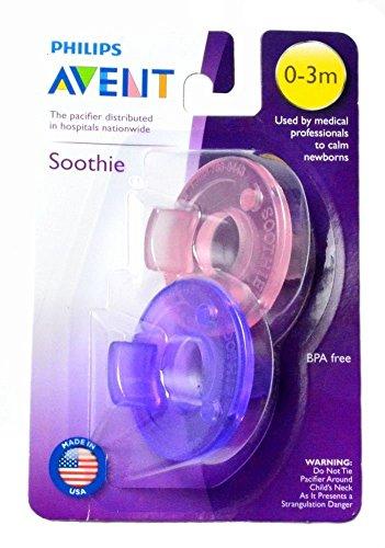 フィリップス Avent Soothie Pacifier おしゃぶり 0-3ヶ月用(ピンク&パープル)2個パック +ホルダー付 並行輸入品