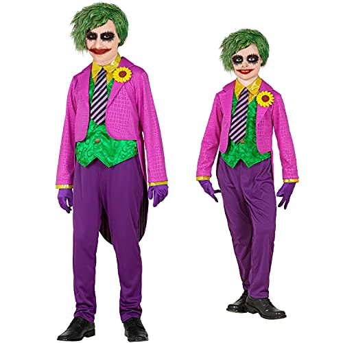 WIDMANN - Disfraz infantil de payaso con camisa y chaleco, pantalones, corbata, guantes, joker, psicótico, asesino, disfraz, fiesta temática, carnaval, Halloween.