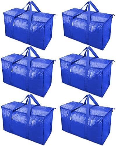 TICONN 6 Pack Extra Large Moving Bags with Zippers Carrying Handles Heavy Duty Storage Tote product image