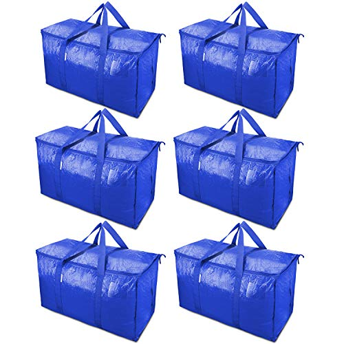 TICONN 6 Pack Extra Large Moving Bags with Zippers & Carrying Handles, Heavy-Duty Storage Tote for Space Saving Moving Storage (Blue)