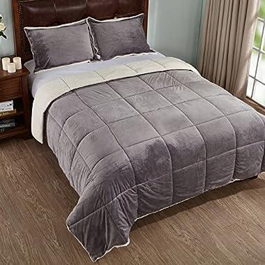 3-Piece Sherpa Reversible Down Alternative Comforter Set with Pillow Shams, King Size, Grey