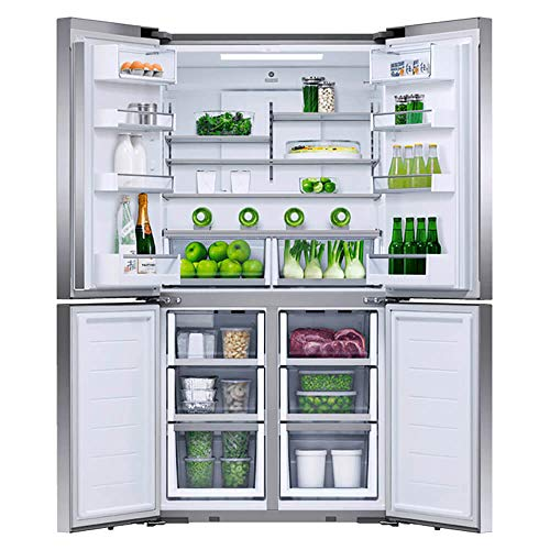 Fisher & Paykel Series 7 RF203QDUVX1 36 Inch Freestanding Counter Depth Quad Door Refrigerator Freezer with 18.9 Cu. Ft. Capacity, Ice Maker, Water Dispenser, Variable Temperature Zone, Touch Control