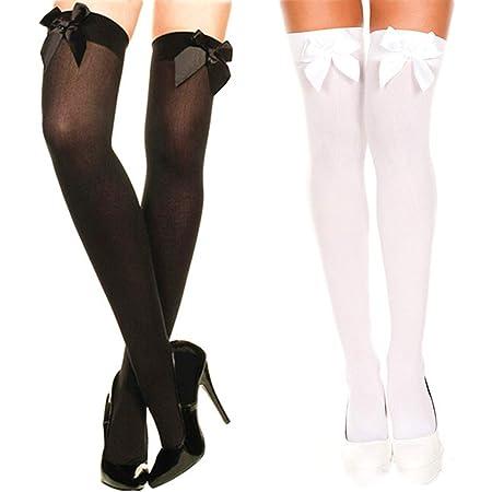 PROACC 2 Pares Medias con Lazo para Mujer Blanco y Negro Medias Altas de Muslo Opacas Calcetines sobre Rodilla Talla única