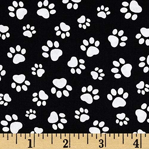 Timeless Treasures Paw Print Black/White, Quilting Fabric by the Yard