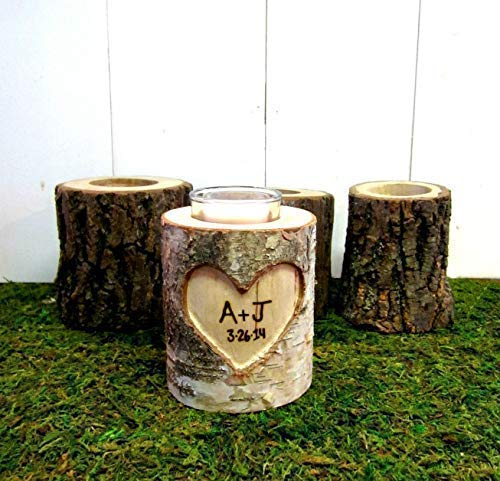Romantic Couples Initials Personalized 5 Year Anniversary Gift, Birch Branches Log Rustic Wedding Candle Holder
