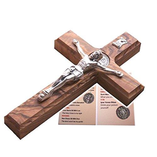 Holy Land Market Saint Benedict Wall Crucifix Handmade Silver Tone Corpus - 12 Inches