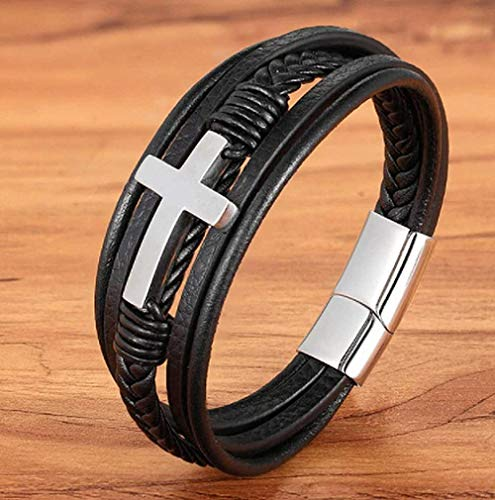 Faith Luxury Cross Design Stainless Steel for Mens Leather Bracelet Christmas Fashion Religious Leather Bangle Wristband-Silver