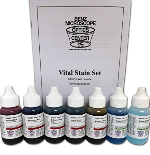 Benz Microscope Slide Stains Vital Stain Kit - 7 Bottle Set